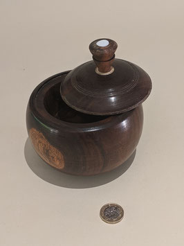 30. Beautiful dark wood keepsake bowl and lid.