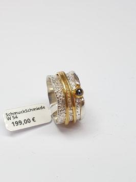 Ring Silber 925/- schwarzer Diamant - bewegliche Drehringe