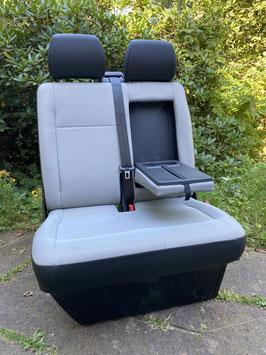 VW T6 Beifahrer-Doppelsitzbank mit Klapptisch KUNSTLEDER