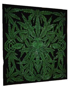 """Tenture verte """"Yeux dans les feuilles"""""""