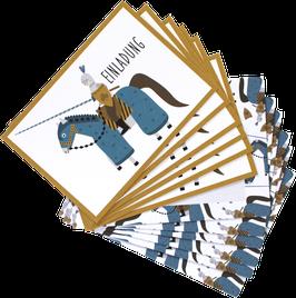 Einladungskarten-Set Ritter (6 Karten)