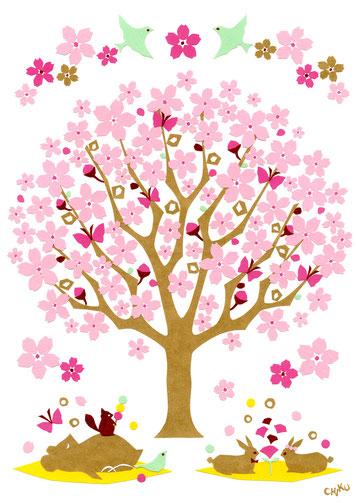 「桜咲く」切り絵 297x210mm