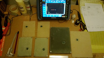 Ultrasound Non destructive testing equipment and composite test panels for analysis.