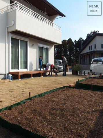 イタウバ、ウッドデッキ、家庭菜園、施工例