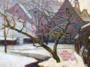 Neige à Murol(s), vers 1920, Victor CHARRETON, huile sur carton