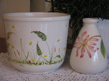 Blumentopf: Blumenwiese,  Vase: Chèvrefeuille