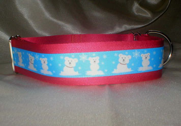 Halsband, Zugstopp 4cm, weinrot, Borte mit Eisbären