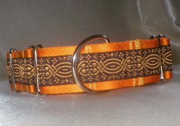 Martingale, Halsband, 4cm, goldorange, Ornamentborte