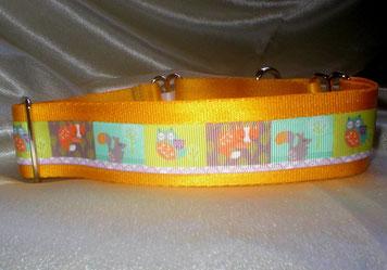 Martingale, Halsband, 4cm,Gurtband sonnengelb, Borte mit Waldtieren
