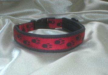 Klickverschluss, Halsband, Pfötchengurtband, 2,5cm, rot-schwarz