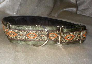 Martingale, Halsband, 4cm, Gurtband olivgrün, gepolstert, edle Borte