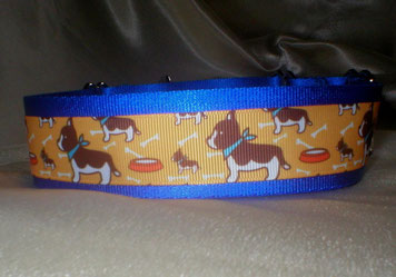 Martingale, Halsband, 4cm, königsblau, Borte mit Bulldog