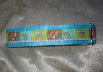 Martingale, Halsband, 4cm, Gurtband eisblau, Borte mit Waldtieren