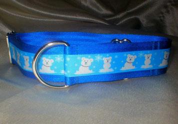 Halsband, Zugstopp 4cm, königsblau, Borte mit Eisbären