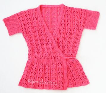Blusa kimono para damas tejido en dos agujas o palitos