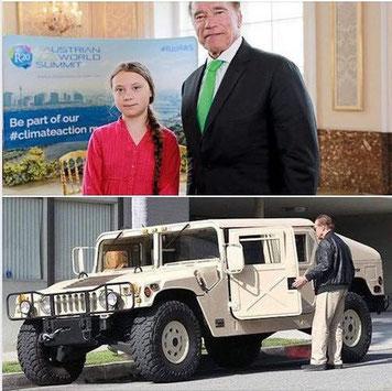 Greta Thunberg Arnold Schwarzenegger Spritschleuder Hummer Auto Luxusauto Jeep