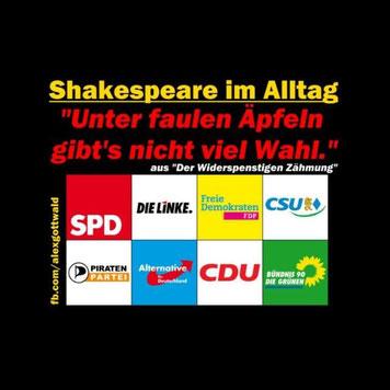 Politik Chat Shakespeare im Alltag SPD CDU CSU FDP AfD Piraten Die Linke Bündnis 90 Die Grünen