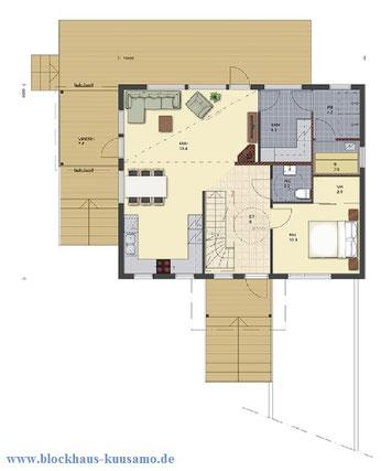 Erdgeschoss - Blockhaus Planung - Blockhausbau - Entwurfsplanung - Typenhaus - Stadthaus - Stadtvilla in Blockbauweise - Entwurfszeichnungen für Bauantrag - Baugenehmigung - Bauhausstil