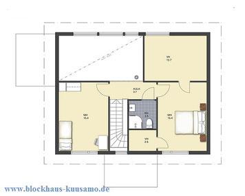 Obergesschoss im Stadthaus - Bauplanung -  Energiesparhäuser - Blockhäuser zum Wohlfühlen in massiver Bauweise - Niedrigenergiehaus - Wohngesunde Wohnhäuser aus Holz ohne Kunststoffe