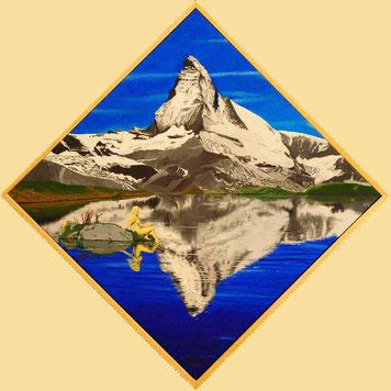 Bild:Matterhorn.Berg,Stellisee,See,Quadrat,Ecke,Pyramide,Akt,Frau,Blond,Spiegelung,d-t-b.ch,d-t-b,David Brandenberger,Biber,dave the beaver,Ölbild,Malerei,Ölfarbe,