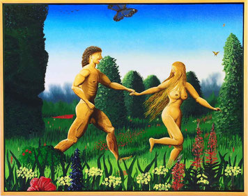 Bild:Adam,Eva,Paradies,Gott,Garten,Eden,Glück,Schmetterling,Symbol,Baum,Schöpfung,Blumen,Wiese,d-t-b.ch,d-t-b,David Brandenberger,Biber,dave the beaver,Ölbild,Malerei,Ölfarbe,