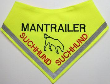 Mantrailer, Mantrailerhund, Mantrailer Halstuch, Suchhund, neongelbes Tuch