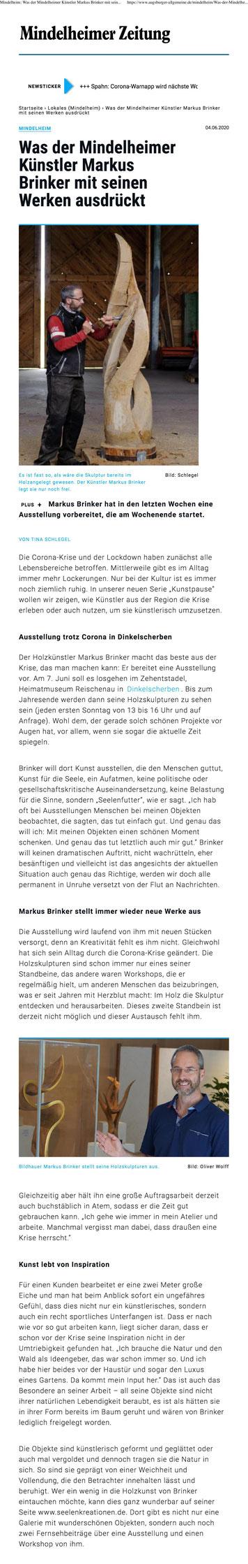 Pressebericht über Markus Brinkers`s künstlerische Arbeit währen der Corona-Beschränkungen