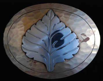 Aspen Leaf Brass Belt Buckle