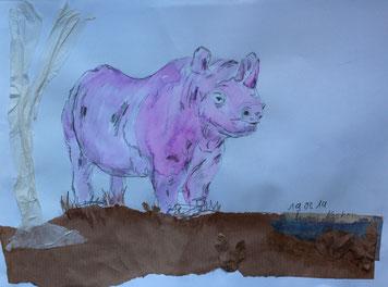 05/2014 WS Papier/Collagen: Nilpferd