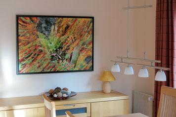 Kunstwerk nach Wünschen (Naturfotografie mit Abstraktion in Öl), fertig beim Kunden, 100 x 70 cm, 2014