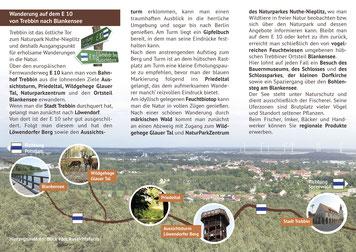 De Wanderweg E10 wird textlich auf den drei Innenseiten beschrieben. Hintergrund ist ein Foto mit einer Aussicht vom Löwendorfer Berg. Im unteren Drittel ist der Verlauf des Wanderweges von Trebbin nach Blankensee dargestellt.
