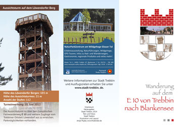 """Flyer """"Wanderung auf dem E10 von Trebbin nach Blankensee""""."""
