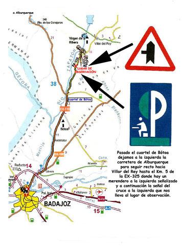Mapa para llegar al punto de observación