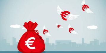 Euros dotés d'ailes faisant d'eux des anges des affaires (business angels)
