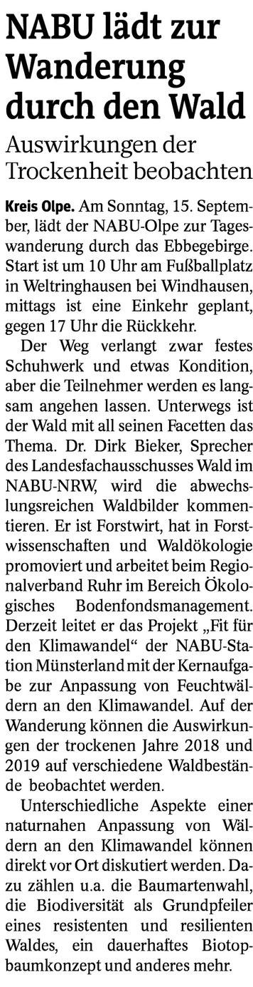 Westfalenpost, 02.09.2019