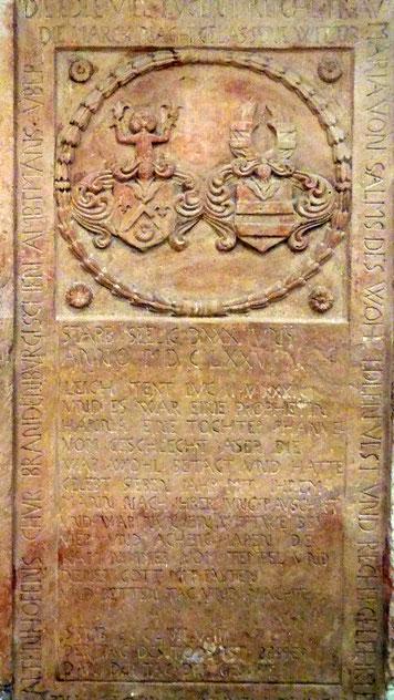 Grabplatte der Frau von Salms in Bad Nauheim
