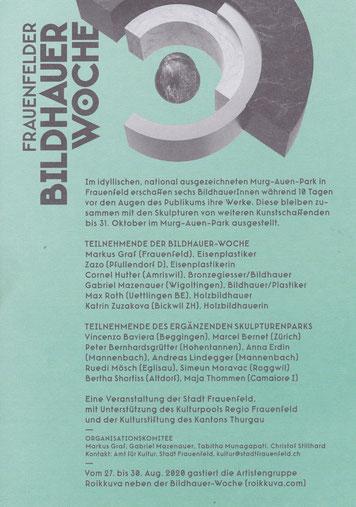 Frauenfelder Bildhauerwoche/ Andreas Lindegger/ Anna Erdin/ Skulpturen Ausstellung/  Skulpturenweg/ Thurgau Kunst/