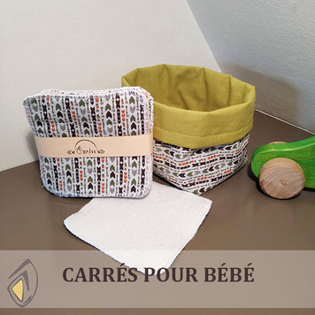 carrés pour bébé lavables et réutilisables