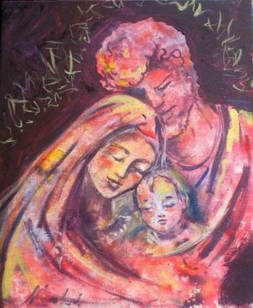 Famiglia di Nazaret - pittura a negativo-