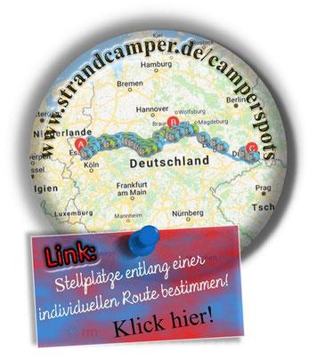 Neu: Seine eigenen Reiseziele eingeben und Stellplätze entlang seiner Route finden. Das ist es doch! Und möglich macht das Andreas, der als Nebeneffekt ausgewählte Camperartikel aus seinem Shop anbietet.  [Werbung ohne Auftrag.]