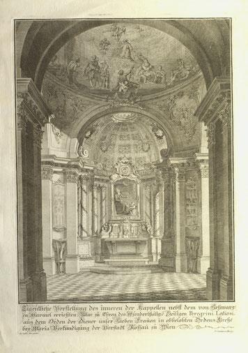 Peregrinkapelle in der Servitenkirche Wien (Kupferstich 18. Jahrhundert) im Religionsraum des Bezirksmuseums Alsergrund (ALSEUM)