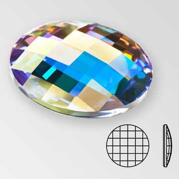 Preciosa Chessboard Circle Crystal AB Aurore Boreale