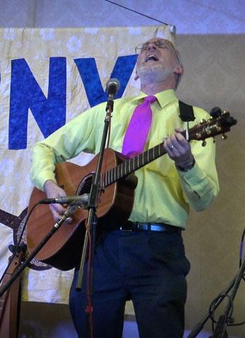 Sam Edelston on guitar at the Folk Music Society of New York Fall Festival, 2017.