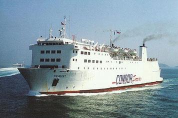 M/V Havelet, ex-M/V Cornouailles de Brittany Ferries, exploité entre 1994 et 1999 par Condor Ferries.