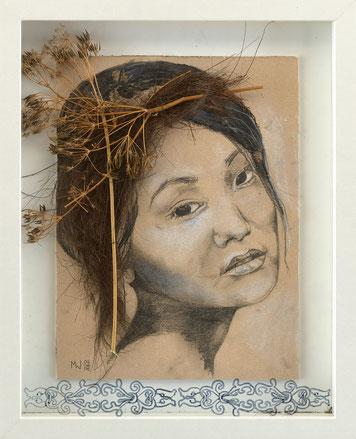 Harumi - assemblage (pencil and charcoal on cardboard, dried flower stalks, palm fibers, CD marker behind plexiglas, 28 x 23cm, 2018