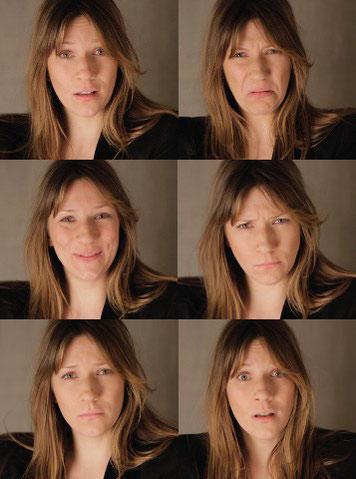 Die Basisemotionen nach Paul Ekman: Überraschung, Ekel, Freude, Ärger, Trauer, Angst (von oben links nach unten rechts). Fotos: dasgehirn.info
