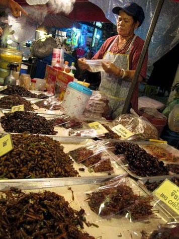 Ein Marktstand mit gerösteten Insekten in Thailand. Was dort als Delikatesse gilt, erzeugt bei Europäern eher Ekelgefühle. Copyright: Tanja Krämer