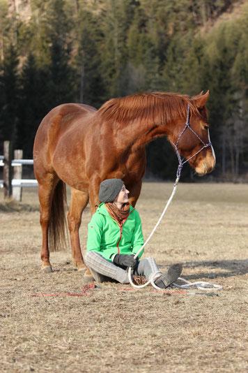 Natascha Leiler himmelt am Boden sitzend ein Pferd hinter sich an