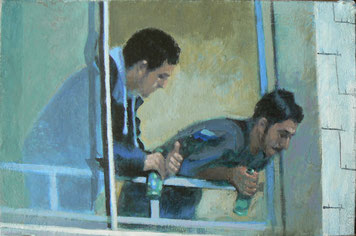 Mehrzad Najand -  les guetteurs - les jeunes - 20x30cm - acrylique - 2014