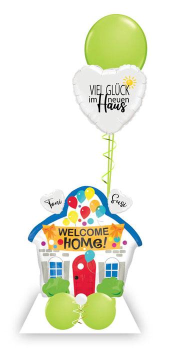 Ballon Luftballon Heliumballon Deko Namen glücklich Überraschung Mitbringsel Party Einzugsparty Neubau Richtfest Ballonpost Ballongruß Versand verschicken neues Haus Wohnung Herz Liebe Einzug Geschenk Idee personalisiert welcome home